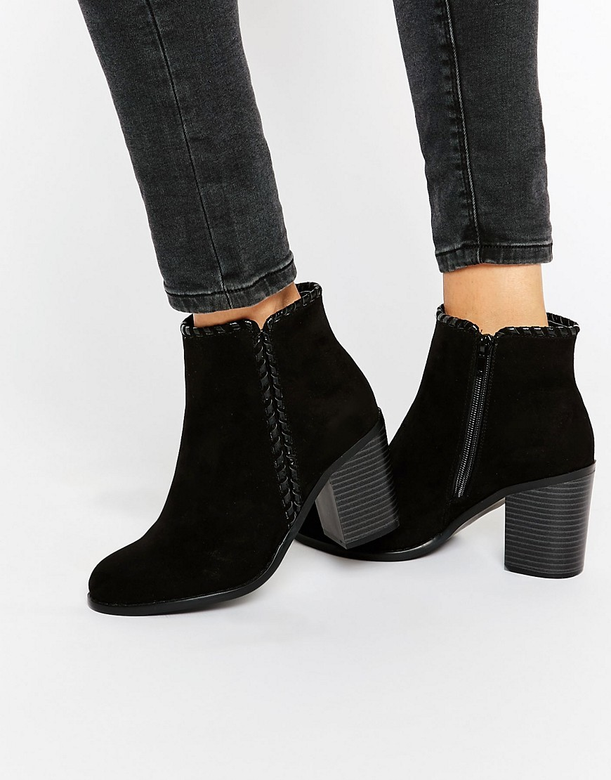 Mid Heeled Ankle Boots Black Mf - predominant colour: black; occasions: casual; heel height: high; heel: block; toe: round toe; boot length: ankle boot; style: standard; finish: plain; pattern: plain; material: faux suede; season: s/s 2016; wardrobe: highlight