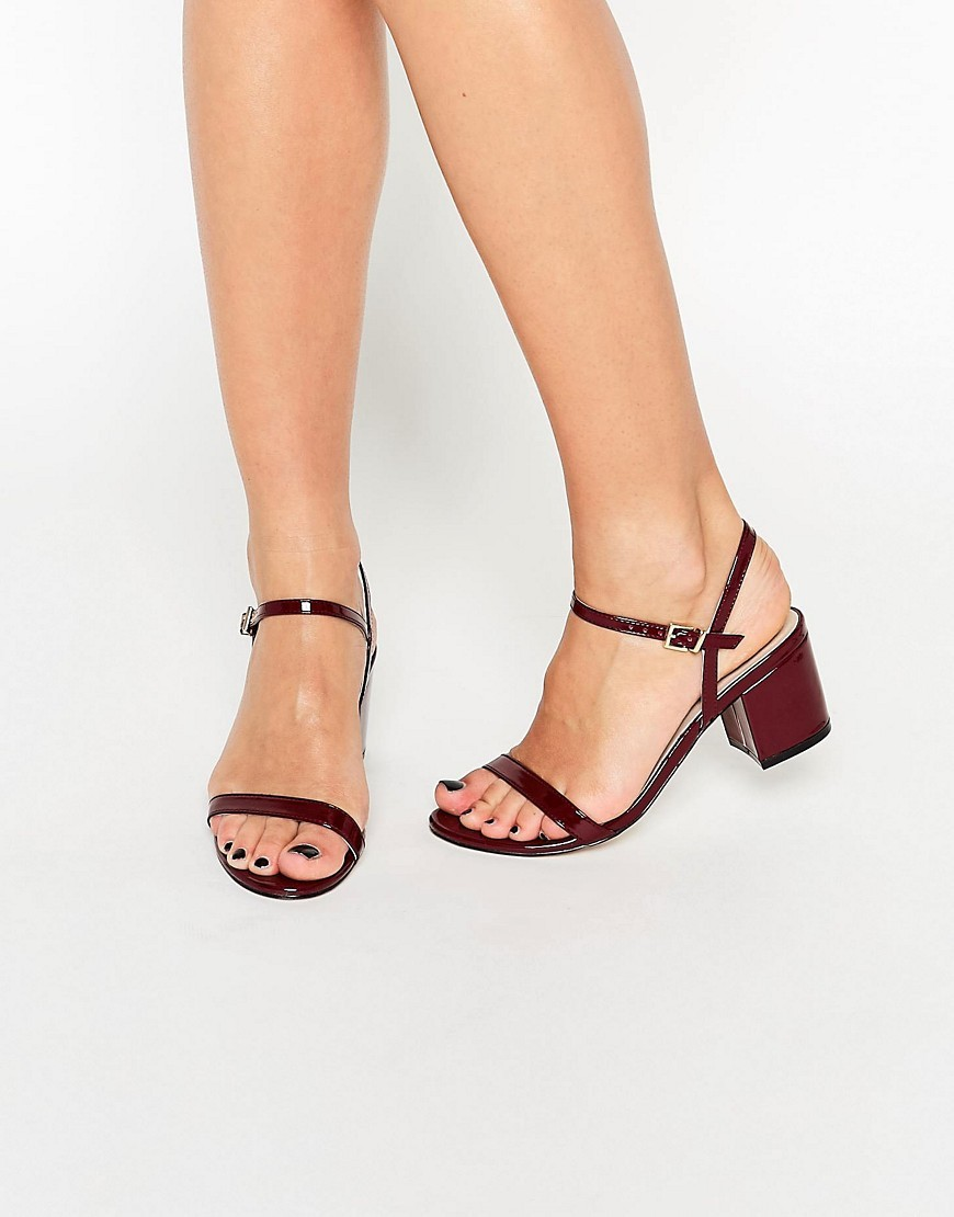 Honeycomb Heeled Sandals Oxblood Patent - predominant colour: black; occasions: casual, holiday; material: faux leather; heel height: mid; ankle detail: ankle tie; heel: block; toe: open toe/peeptoe; style: standard; finish: patent; pattern: plain; season: s/s 2016; wardrobe: investment