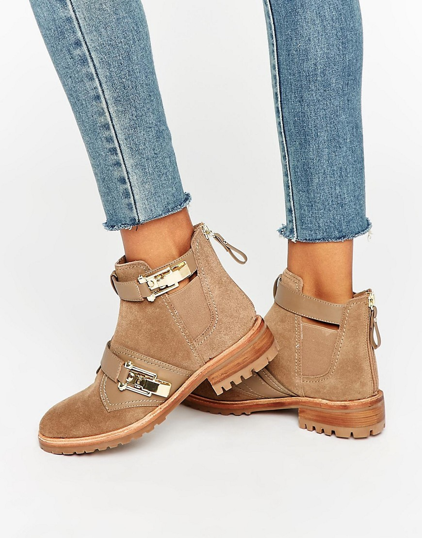Buckle Detail Flat Chelsea Boots Taupe/Tan - predominant colour: taupe; occasions: casual; material: suede; heel height: flat; embellishment: buckles; heel: block; toe: round toe; boot length: ankle boot; finish: plain; pattern: plain; style: chelsea; season: s/s 2016; wardrobe: basic