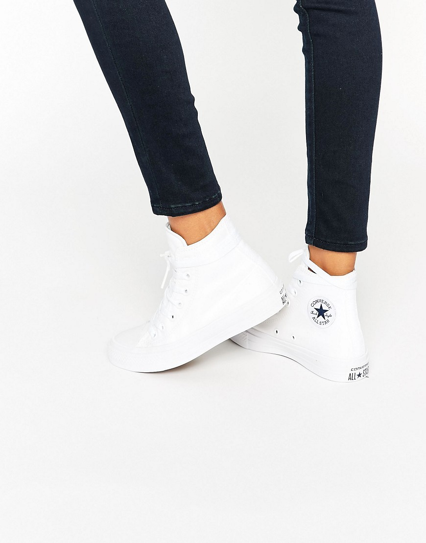 All Star Chuck Taylor Ii White High Top Trainers White - predominant colour: white; occasions: casual; material: fabric; heel height: flat; toe: round toe; style: trainers; finish: plain; pattern: plain; season: s/s 2016; wardrobe: basic