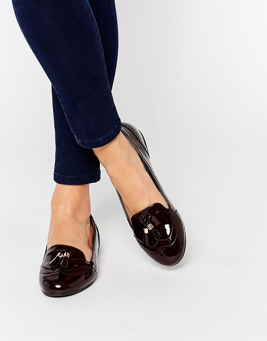 Karina Tassle Brogue Slipper Shoes Wine Patent - predominant colour: burgundy; occasions: casual; material: faux leather; heel height: flat; toe: round toe; style: loafers; finish: patent; pattern: plain; season: s/s 2016; wardrobe: highlight