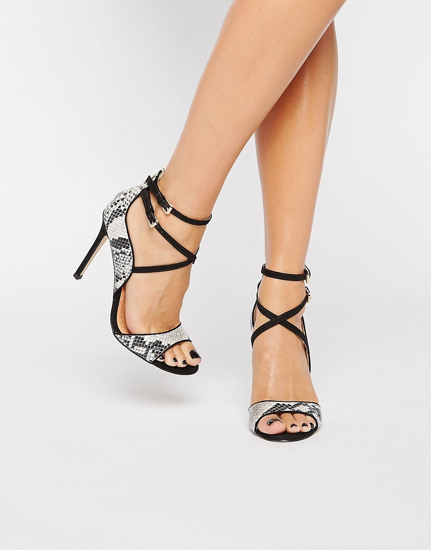 Steffan Strappy Heeled Sandals Black/Other - secondary colour: mid grey; predominant colour: black; occasions: evening, occasion; material: faux leather; ankle detail: ankle tie; heel: stiletto; toe: open toe/peeptoe; style: standard; finish: plain; pattern: animal print; heel height: very high; season: s/s 2016