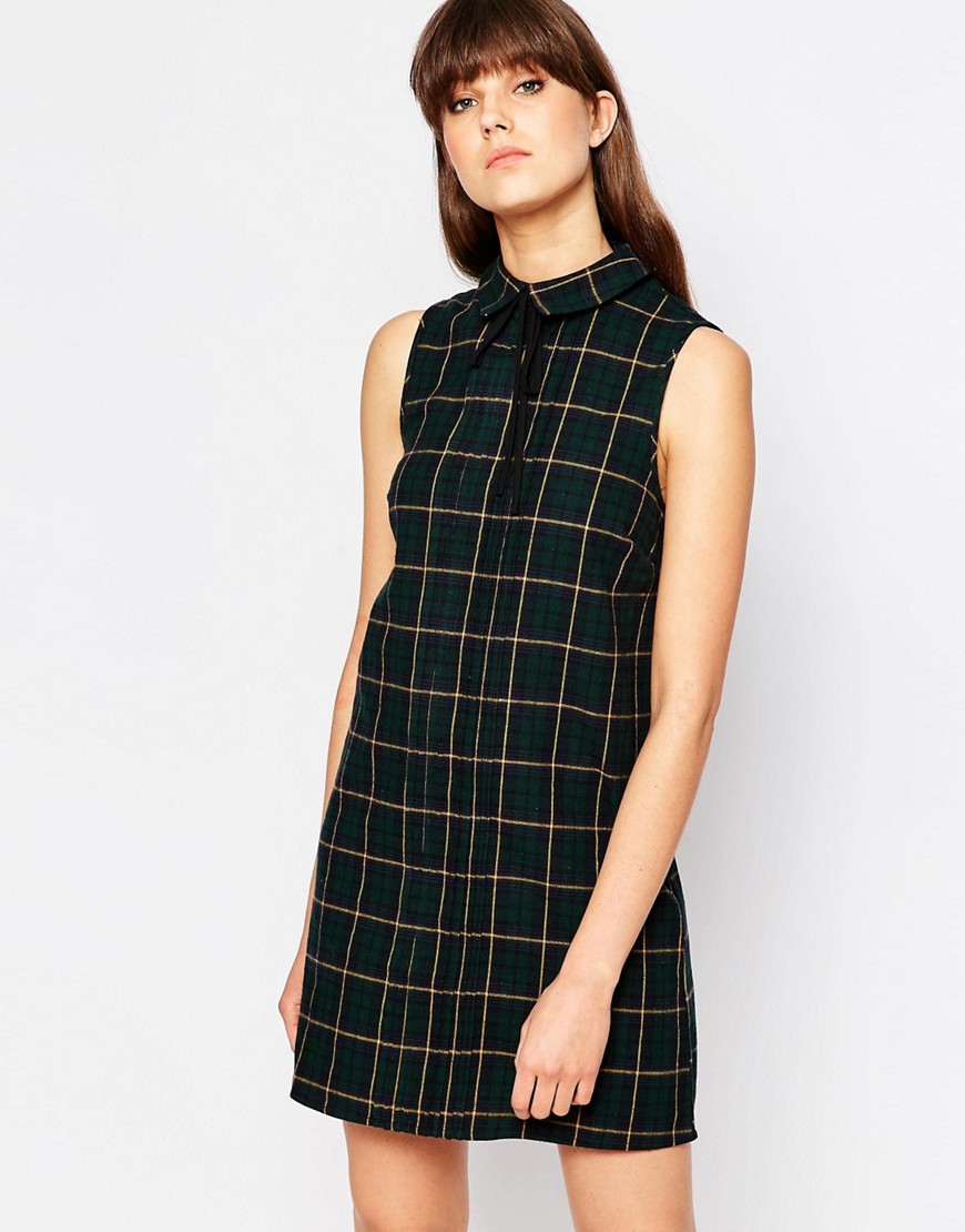 Sleeveless Collar Check Dress Green Check - style: shirt; length: mid thigh; neckline: shirt collar/peter pan/zip with opening; sleeve style: sleeveless; pattern: checked/gingham; predominant colour: dark green; secondary colour: gold; occasions: casual; fit: body skimming; fibres: polyester/polyamide - 100%; sleeve length: sleeveless; pattern type: fabric; texture group: woven light midweight; multicoloured: multicoloured; season: s/s 2016