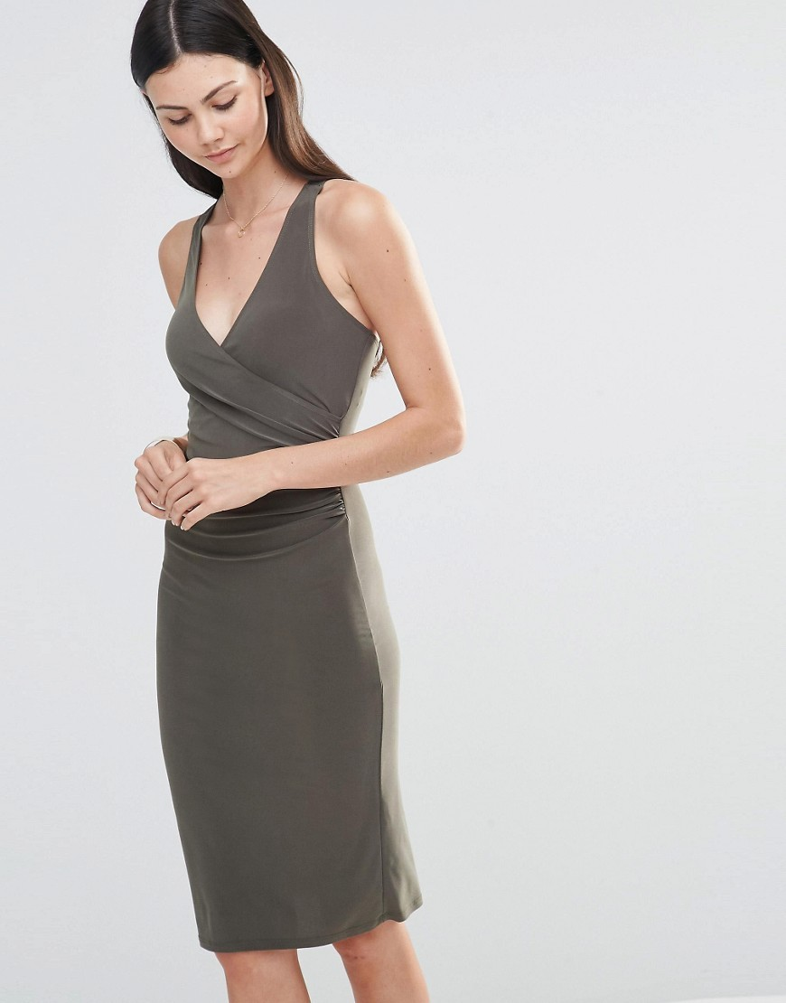 Midi Dress With Cross Back Straps Khaki - style: faux wrap/wrap; neckline: low v-neck; fit: tight; pattern: plain; sleeve style: sleeveless; predominant colour: khaki; occasions: evening; length: on the knee; fibres: polyester/polyamide - stretch; sleeve length: sleeveless; texture group: jersey - clingy; pattern type: fabric; season: s/s 2016; wardrobe: event