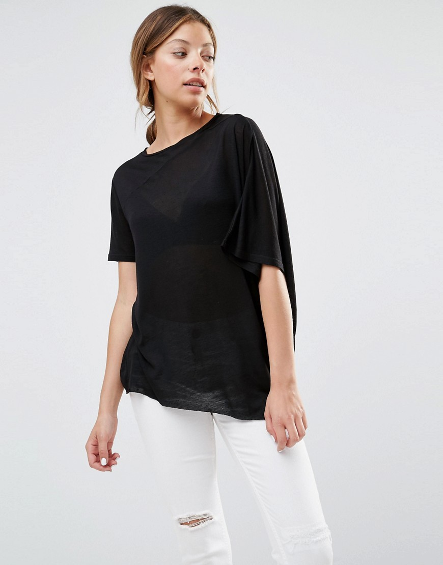 Mistake T Shirt Black - neckline: round neck; pattern: plain; length: below the bottom; style: t-shirt; predominant colour: black; occasions: casual, creative work; fibres: cotton - mix; fit: loose; sleeve length: short sleeve; sleeve style: standard; pattern type: fabric; texture group: jersey - stretchy/drapey; season: s/s 2016; wardrobe: basic
