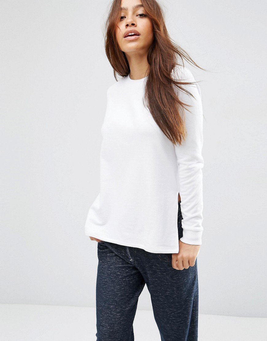 Side Split Sweatshirt White - neckline: round neck; pattern: plain; style: sweat top; predominant colour: white; occasions: casual, creative work; length: standard; fibres: cotton - 100%; fit: body skimming; sleeve length: long sleeve; sleeve style: standard; pattern type: fabric; texture group: jersey - stretchy/drapey; season: s/s 2016; wardrobe: basic