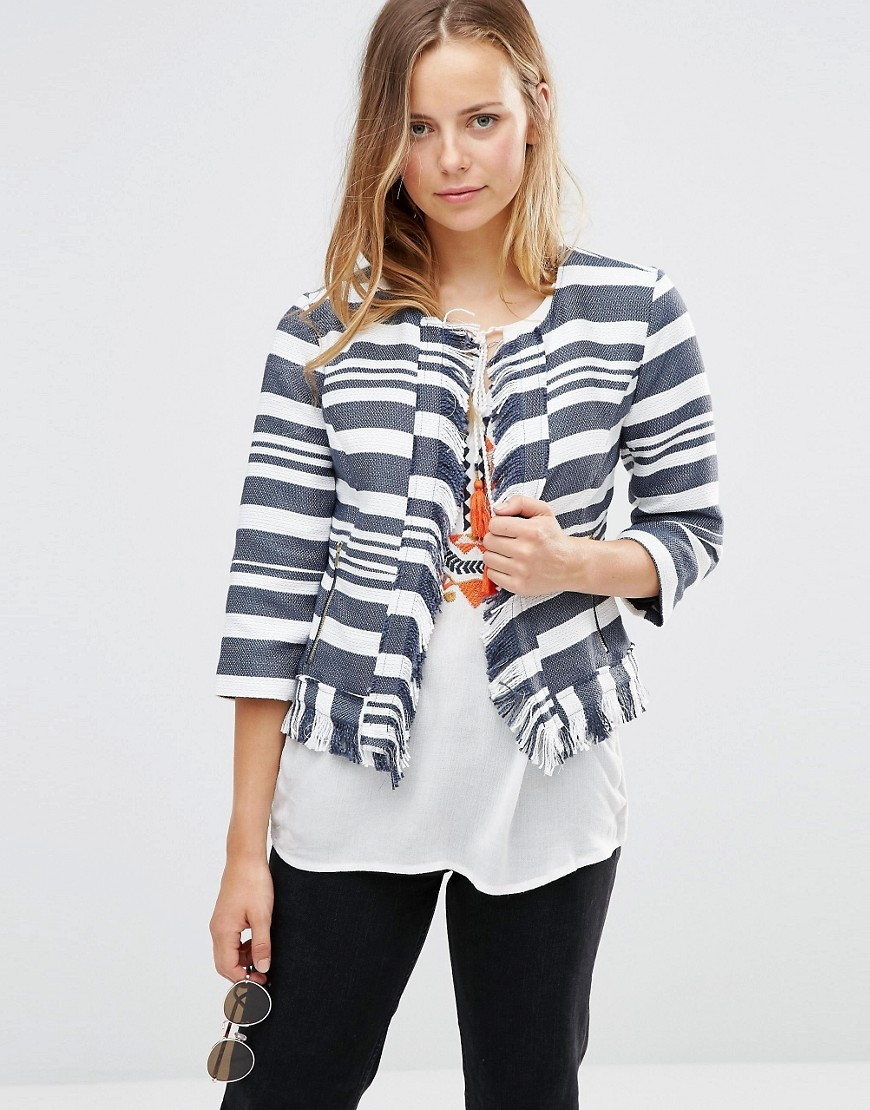 Carli Fringe Boxy Jacket Night Sky Solid - pattern: horizontal stripes; style: single breasted blazer; collar: round collar/collarless; predominant colour: navy; length: standard; fit: tailored/fitted; fibres: polyester/polyamide - 100%; sleeve length: 3/4 length; sleeve style: standard; collar break: high; pattern type: fabric; pattern size: standard; texture group: other - light to midweight; occasions: creative work; season: s/s 2016; wardrobe: investment