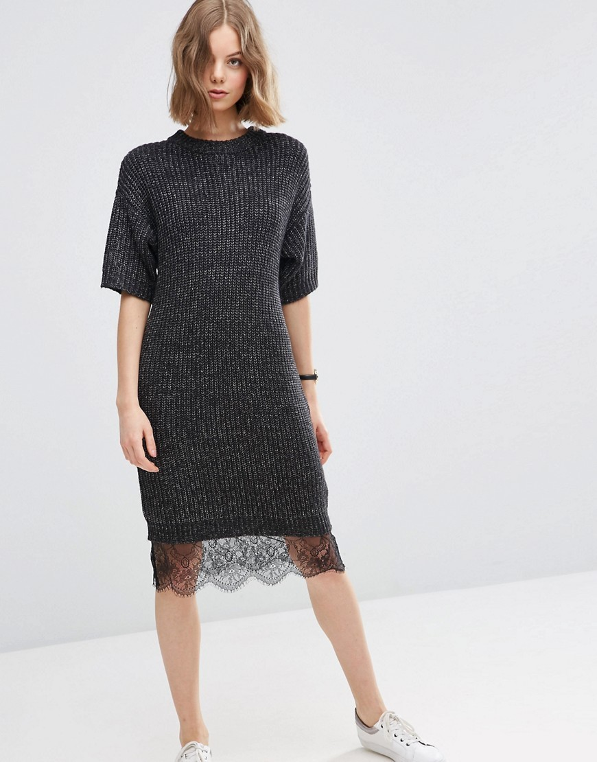 Jumper Dress With Lace Hem Detail Charcoal - style: shift; length: below the knee; pattern: plain; predominant colour: charcoal; occasions: casual; fit: body skimming; fibres: acrylic - mix; neckline: crew; sleeve length: half sleeve; sleeve style: standard; pattern type: fabric; texture group: other - light to midweight; embellishment: lace; season: s/s 2016; wardrobe: highlight