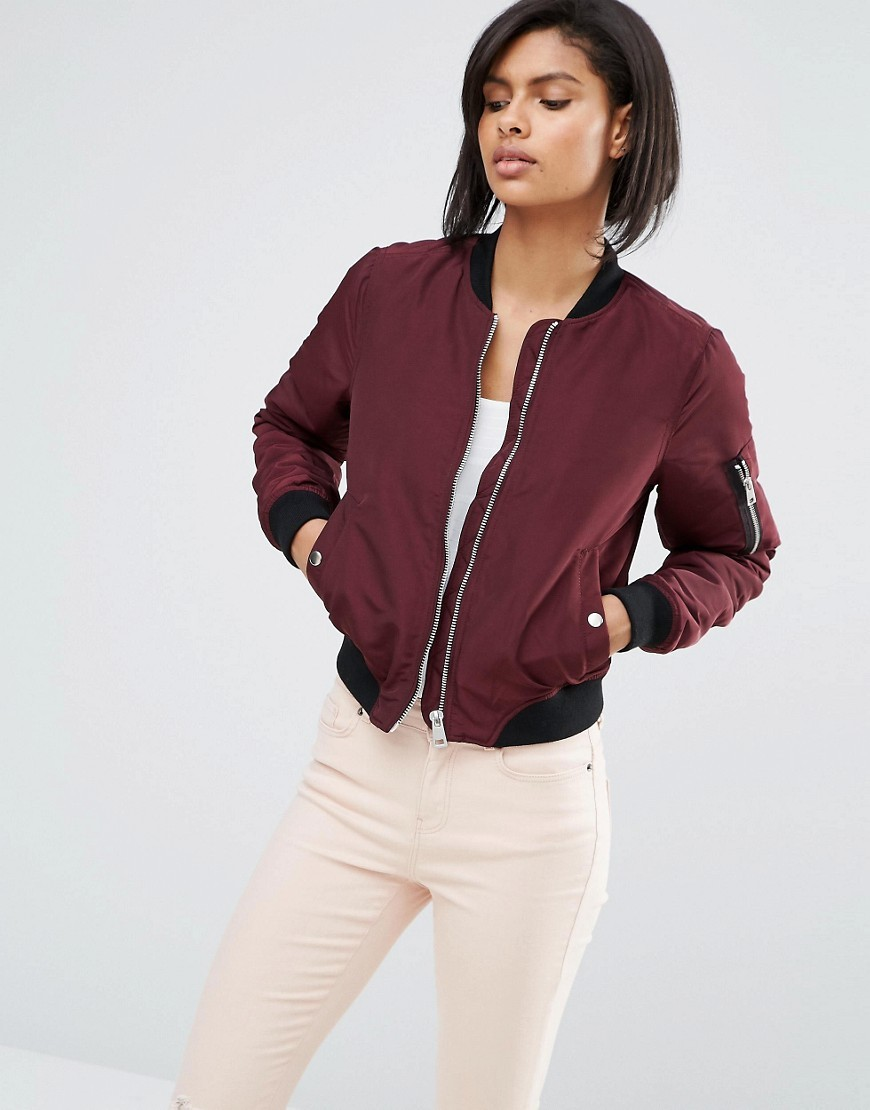 Contrast Rib Bomber Jacket Chocolate - pattern: plain; collar: round collar/collarless; fit: slim fit; style: bomber; predominant colour: burgundy; secondary colour: black; occasions: casual; length: standard; fibres: polyester/polyamide - 100%; sleeve length: long sleeve; sleeve style: standard; collar break: high; pattern type: fabric; texture group: other - light to midweight; season: s/s 2016; wardrobe: highlight