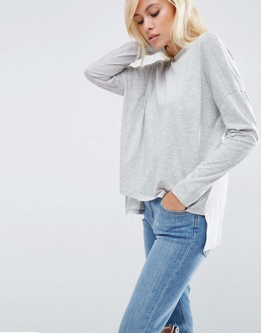 Oversize Long Sleeved Split Back Top Grey - neckline: v-neck; pattern: plain; predominant colour: light grey; occasions: casual, creative work; length: standard; style: top; fibres: cotton - mix; fit: loose; sleeve length: long sleeve; sleeve style: standard; pattern type: fabric; texture group: jersey - stretchy/drapey; season: s/s 2016