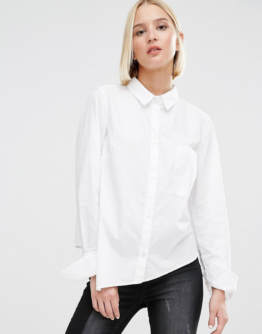 Asymmetric Hem Shirt White - neckline: shirt collar/peter pan/zip with opening; pattern: plain; style: shirt; predominant colour: white; occasions: casual, work, creative work; length: standard; fibres: cotton - 100%; fit: body skimming; sleeve length: long sleeve; sleeve style: standard; texture group: cotton feel fabrics; pattern type: fabric; season: s/s 2016; wardrobe: basic