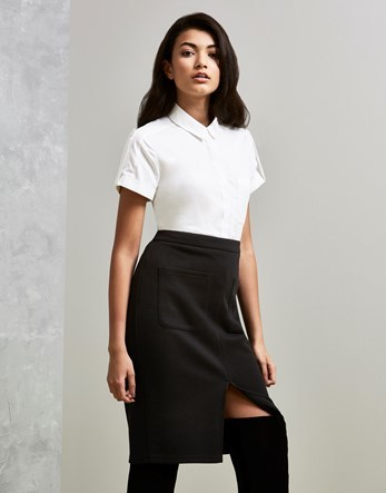 Split Front Pencil Skirt - pattern: plain; style: pencil; fit: body skimming; waist: high rise; predominant colour: black; length: on the knee; fibres: polyester/polyamide - mix; pattern type: fabric; texture group: other - light to midweight; occasions: creative work; season: s/s 2016; wardrobe: basic