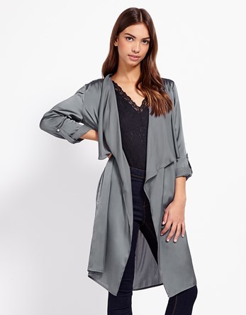 Satin Duster Jacket - pattern: plain; collar: shawl/waterfall; fit: loose; length: on the knee; predominant colour: mid grey; occasions: casual, creative work; fibres: polyester/polyamide - 100%; sleeve length: long sleeve; sleeve style: standard; collar break: low/open; pattern type: fabric; texture group: other - light to midweight; style: duster coat; season: s/s 2016