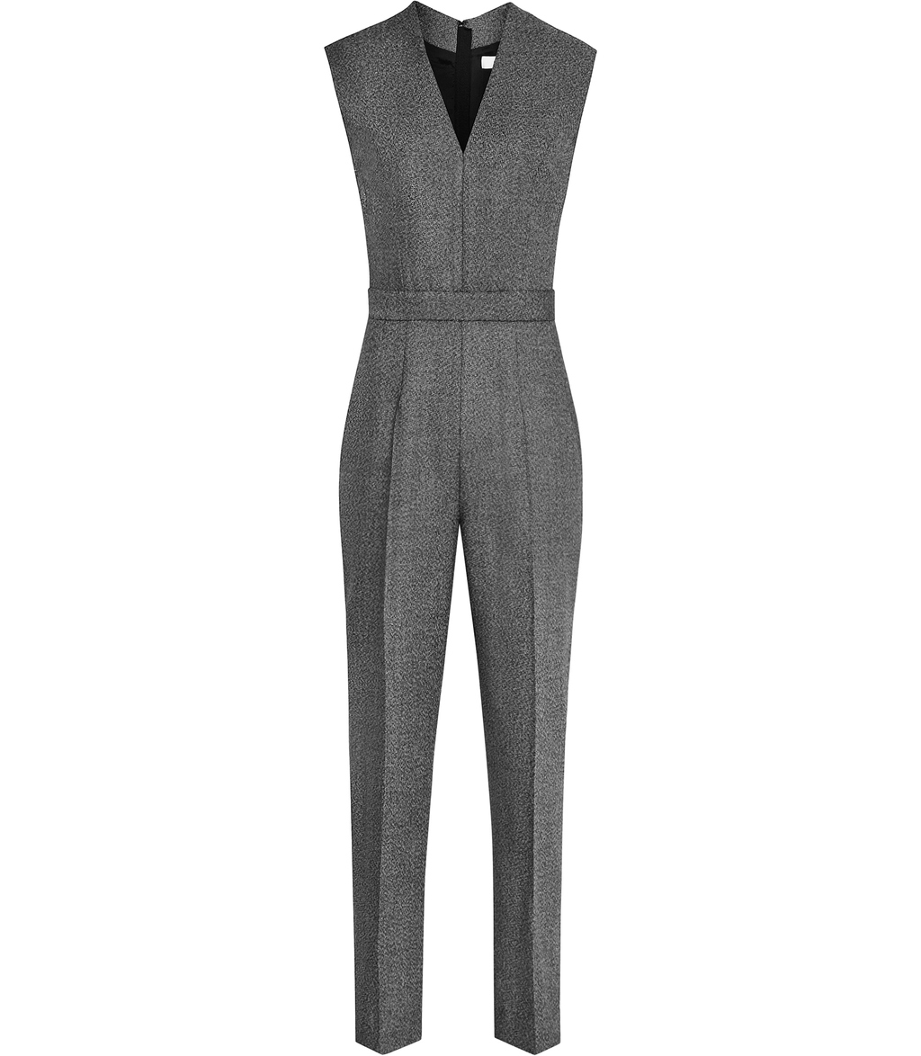Gabrielle Jumpsuit Womens Tailored Jumpsuit In Black - length: standard; neckline: v-neck; fit: tailored/fitted; pattern: plain; sleeve style: sleeveless; predominant colour: charcoal; occasions: evening; fibres: wool - mix; sleeve length: sleeveless; style: jumpsuit; pattern type: fabric; texture group: woven light midweight; season: s/s 2016