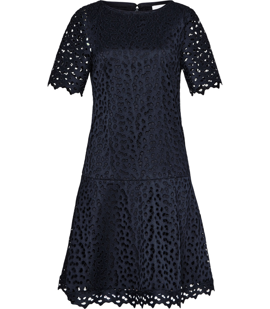 Mae Womens Drop Waist Lace Dress In Blue - style: drop waist; predominant colour: navy; occasions: evening; length: just above the knee; fit: body skimming; fibres: polyester/polyamide - 100%; neckline: crew; sleeve length: short sleeve; sleeve style: standard; texture group: lace; pattern type: fabric; pattern size: standard; pattern: patterned/print; season: s/s 2016; wardrobe: event