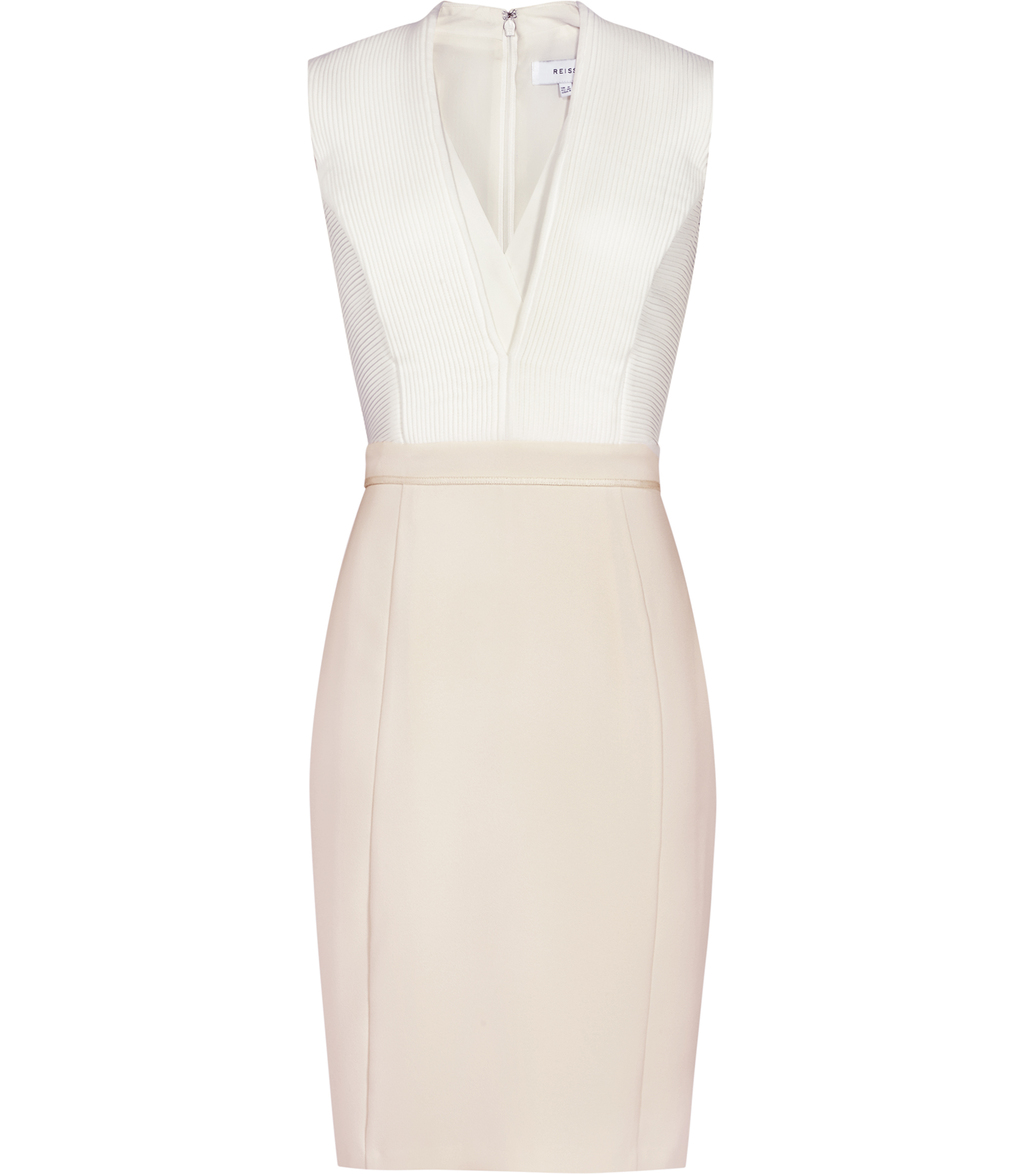 Lourdes Womens Block Colour Dress In White - neckline: v-neck; fit: tight; pattern: plain; sleeve style: sleeveless; style: bodycon; predominant colour: white; secondary colour: blush; occasions: evening; length: just above the knee; fibres: polyester/polyamide - 100%; sleeve length: sleeveless; texture group: jersey - clingy; pattern type: fabric; multicoloured: multicoloured; season: s/s 2016; wardrobe: event