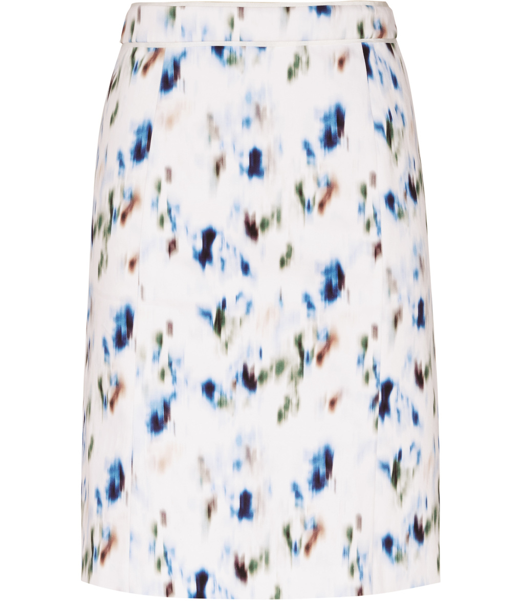 Nelly Womens Printed Skirt In Blue - style: straight; waist: mid/regular rise; predominant colour: white; secondary colour: royal blue; occasions: casual; length: just above the knee; fibres: cotton - stretch; fit: straight cut; pattern type: fabric; pattern: patterned/print; texture group: woven light midweight; multicoloured: multicoloured; season: s/s 2016