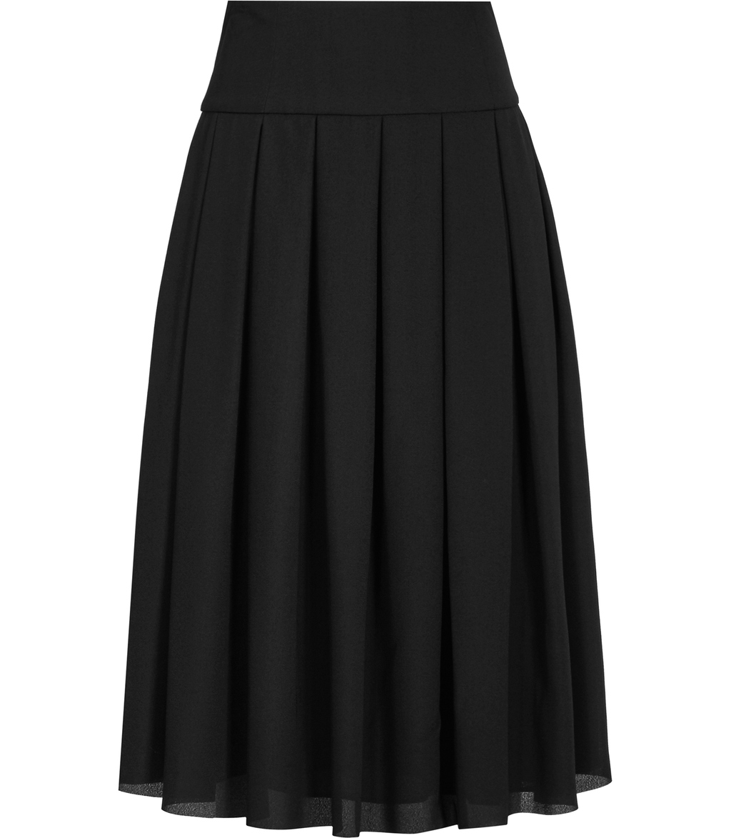 Eli Womens Pleated Midi Skirt In Black - pattern: plain; fit: body skimming; style: pleated; waist: mid/regular rise; predominant colour: black; occasions: casual, work; length: on the knee; fibres: cotton - 100%; texture group: sheer fabrics/chiffon/organza etc.; pattern type: fabric; season: s/s 2016; wardrobe: basic