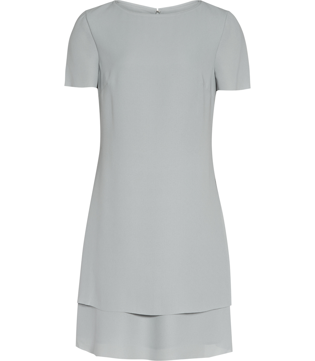 Cindy Womens Layered Shift Dress In Blue - style: shift; length: mini; fit: tailored/fitted; pattern: plain; predominant colour: pale blue; occasions: evening, occasion; fibres: polyester/polyamide - 100%; neckline: crew; sleeve length: half sleeve; sleeve style: standard; texture group: crepes; pattern type: fabric; season: s/s 2016; wardrobe: event