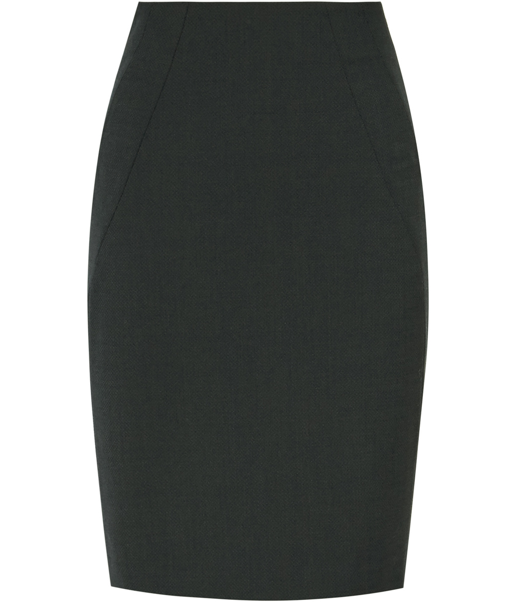 Pinetta Skirt Womens Tailored Pencil Skirt In Green - pattern: plain; style: pencil; fit: tailored/fitted; waist: high rise; predominant colour: black; occasions: work; length: just above the knee; fibres: wool - mix; pattern type: fabric; texture group: woven light midweight; season: s/s 2016; wardrobe: basic