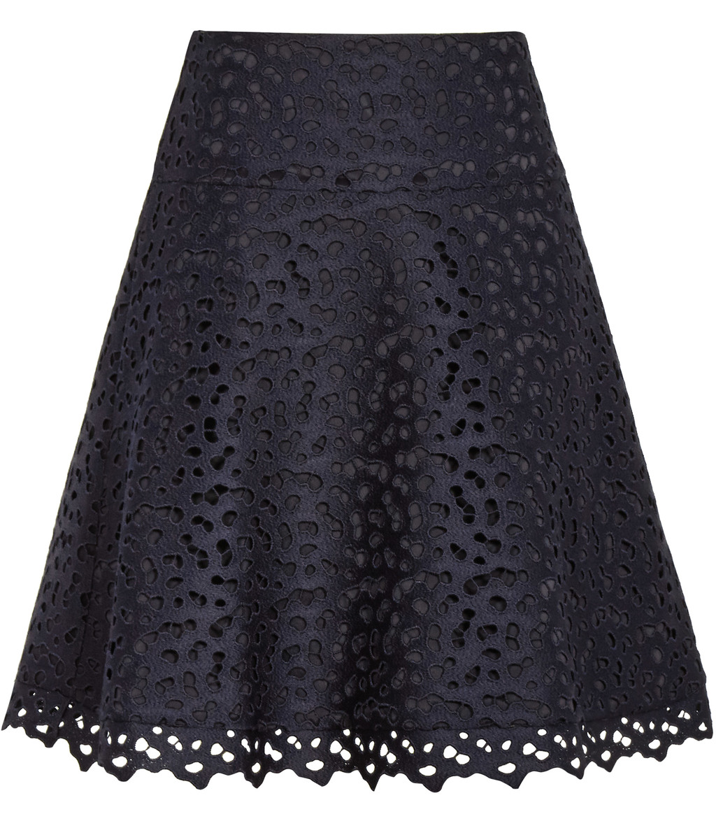 Mallory Womens Lace A Line Skirt In Blue - fit: loose/voluminous; waist: mid/regular rise; predominant colour: navy; occasions: evening; length: just above the knee; style: a-line; fibres: polyester/polyamide - 100%; texture group: lace; pattern type: fabric; pattern: patterned/print; pattern size: standard (bottom); season: s/s 2016; wardrobe: event