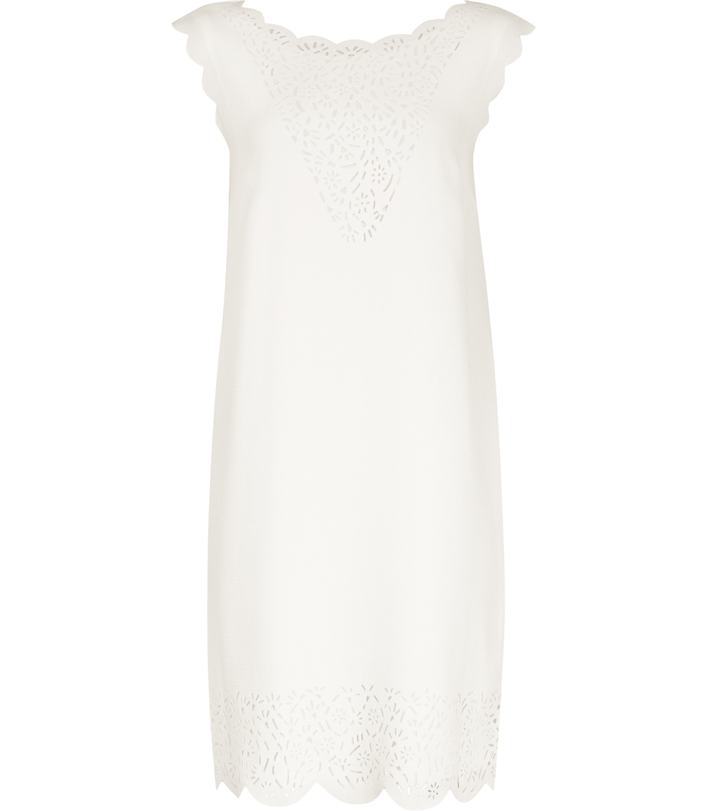 Vita Womens Laser Cut Shift Dress In White - style: shift; length: mid thigh; neckline: round neck; sleeve style: capped; pattern: plain; predominant colour: white; occasions: evening; fit: straight cut; fibres: polyester/polyamide - 100%; sleeve length: sleeveless; texture group: crepes; pattern type: fabric; season: s/s 2016; wardrobe: event
