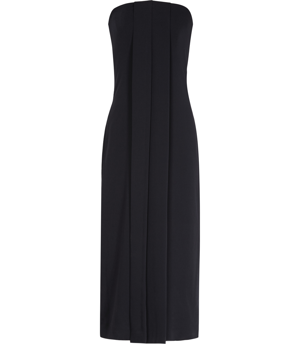 Giorgia Womens Strapless Dress In Blue - style: shift; length: calf length; neckline: strapless (straight/sweetheart); pattern: plain; sleeve style: strapless; predominant colour: navy; occasions: evening; fit: body skimming; fibres: polyester/polyamide - 100%; sleeve length: sleeveless; texture group: crepes; pattern type: fabric; season: s/s 2016