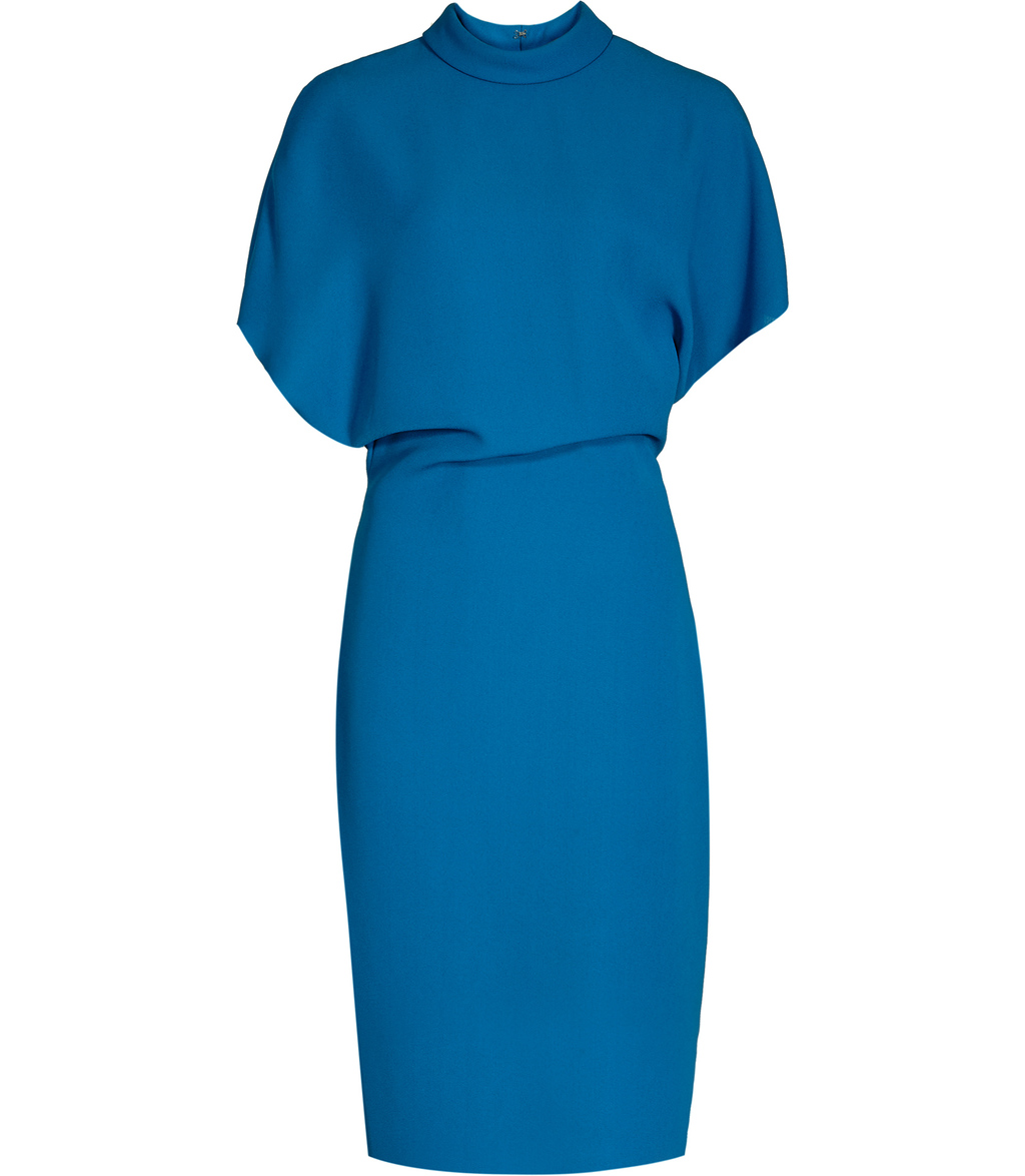 Berry Womens High Neck Dress In Blue - style: shift; pattern: plain; neckline: high neck; predominant colour: royal blue; occasions: evening; length: on the knee; fit: body skimming; fibres: polyester/polyamide - 100%; sleeve length: short sleeve; sleeve style: standard; pattern type: fabric; texture group: jersey - stretchy/drapey; season: s/s 2016