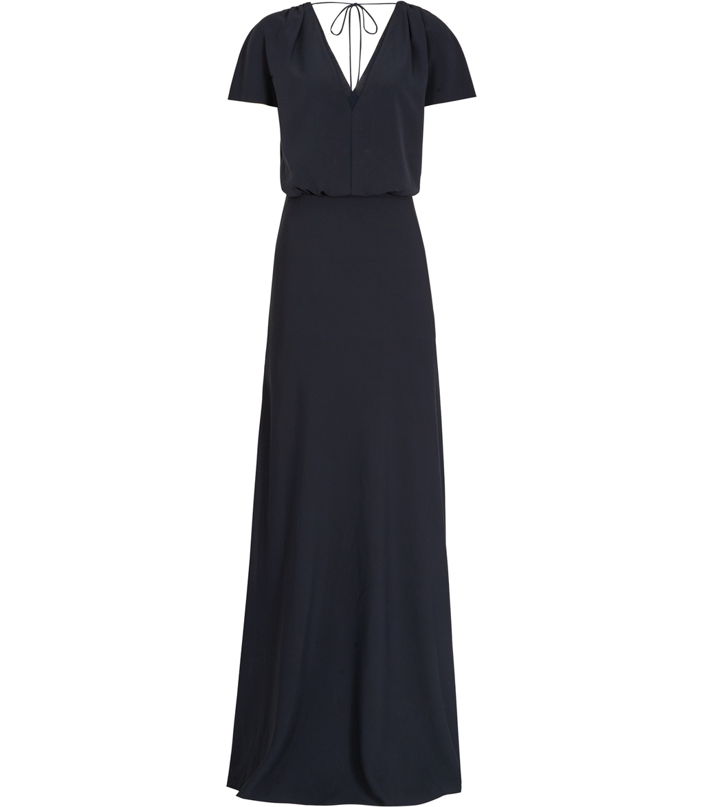 Shelley Womens Maxi Dress In Blue - neckline: v-neck; pattern: plain; style: maxi dress; predominant colour: navy; occasions: evening; length: floor length; fit: body skimming; fibres: polyester/polyamide - 100%; sleeve length: short sleeve; sleeve style: standard; pattern type: fabric; texture group: other - light to midweight; season: s/s 2016; wardrobe: event