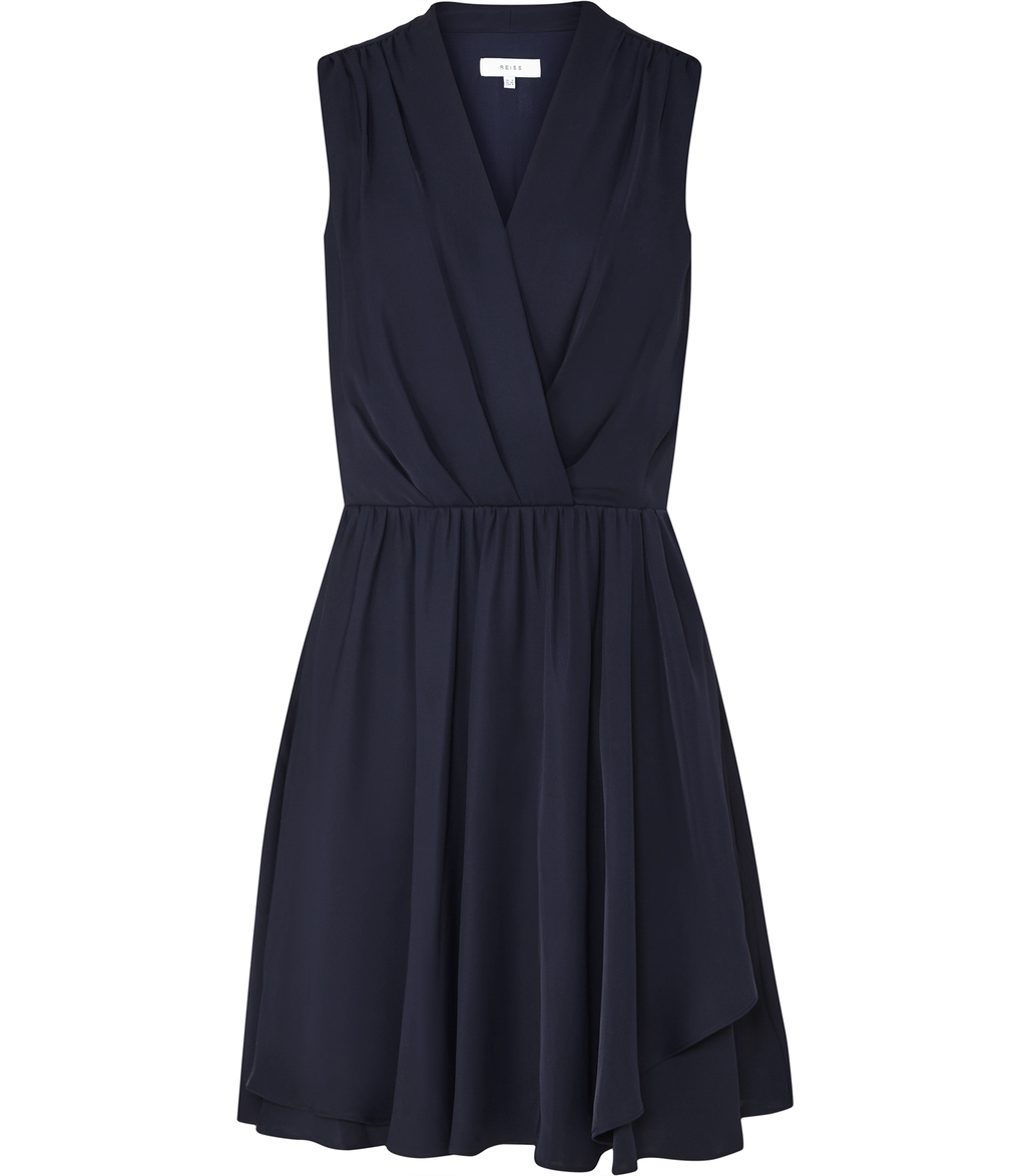 Electra Womens Wrap Front Dress In Blue - style: faux wrap/wrap; neckline: v-neck; pattern: plain; sleeve style: sleeveless; predominant colour: navy; occasions: evening; length: just above the knee; fit: body skimming; fibres: polyester/polyamide - 100%; sleeve length: sleeveless; texture group: crepes; pattern type: fabric; season: s/s 2016; wardrobe: event