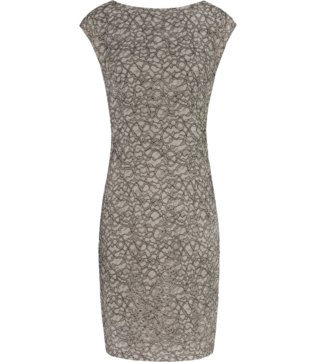 Ayda Womens V Back Lace Dress In Brown - style: shift; length: mid thigh; neckline: slash/boat neckline; sleeve style: capped; fit: tailored/fitted; hip detail: fitted at hip; predominant colour: stone; secondary colour: black; occasions: evening, occasion; fibres: polyester/polyamide - 100%; sleeve length: short sleeve; texture group: lace; pattern type: fabric; pattern: patterned/print; season: s/s 2016; wardrobe: event