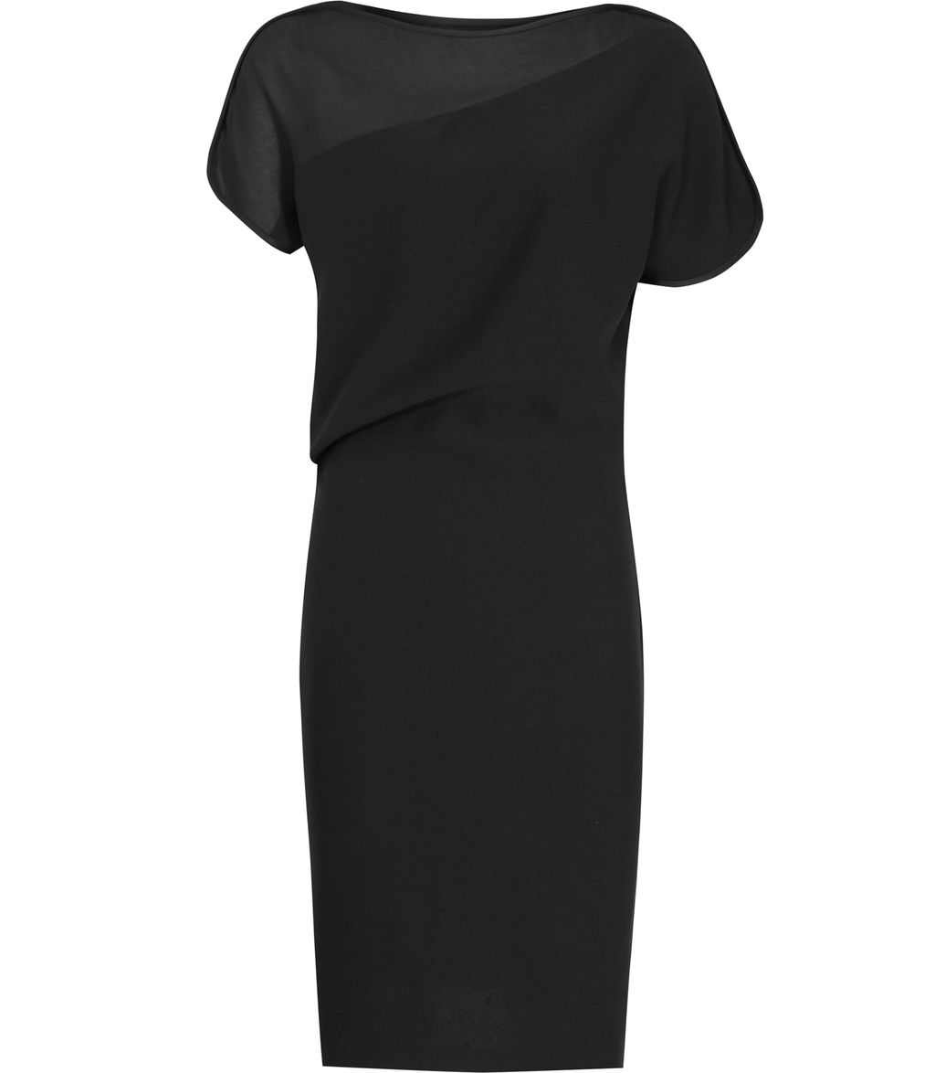 Salma Womens Slash Neck Dress In Black - style: shift; neckline: slash/boat neckline; fit: tailored/fitted; pattern: plain; hip detail: fitted at hip; predominant colour: black; occasions: evening, occasion; length: just above the knee; fibres: polyester/polyamide - 100%; sleeve length: short sleeve; sleeve style: standard; texture group: crepes; pattern type: fabric; shoulder detail: sheer at shoulder; season: s/s 2016