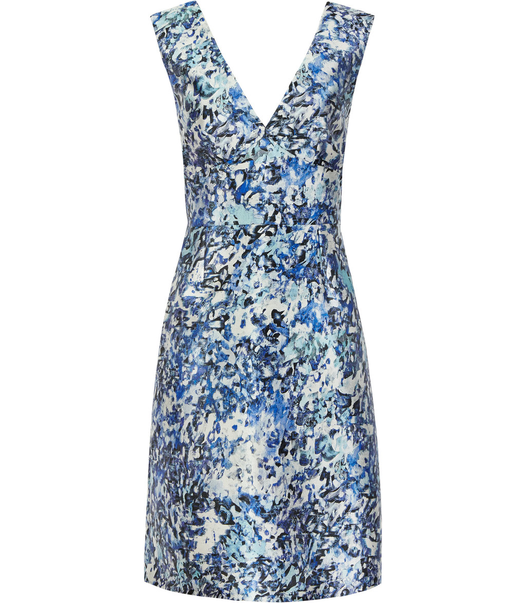 Allium Womens Printed Dress In Blue - neckline: v-neck; sleeve style: sleeveless; predominant colour: pale blue; secondary colour: navy; occasions: evening; length: just above the knee; fit: fitted at waist & bust; style: fit & flare; fibres: polyester/polyamide - stretch; sleeve length: sleeveless; texture group: structured shiny - satin/tafetta/silk etc.; pattern type: fabric; pattern: patterned/print; multicoloured: multicoloured; season: s/s 2016; wardrobe: event