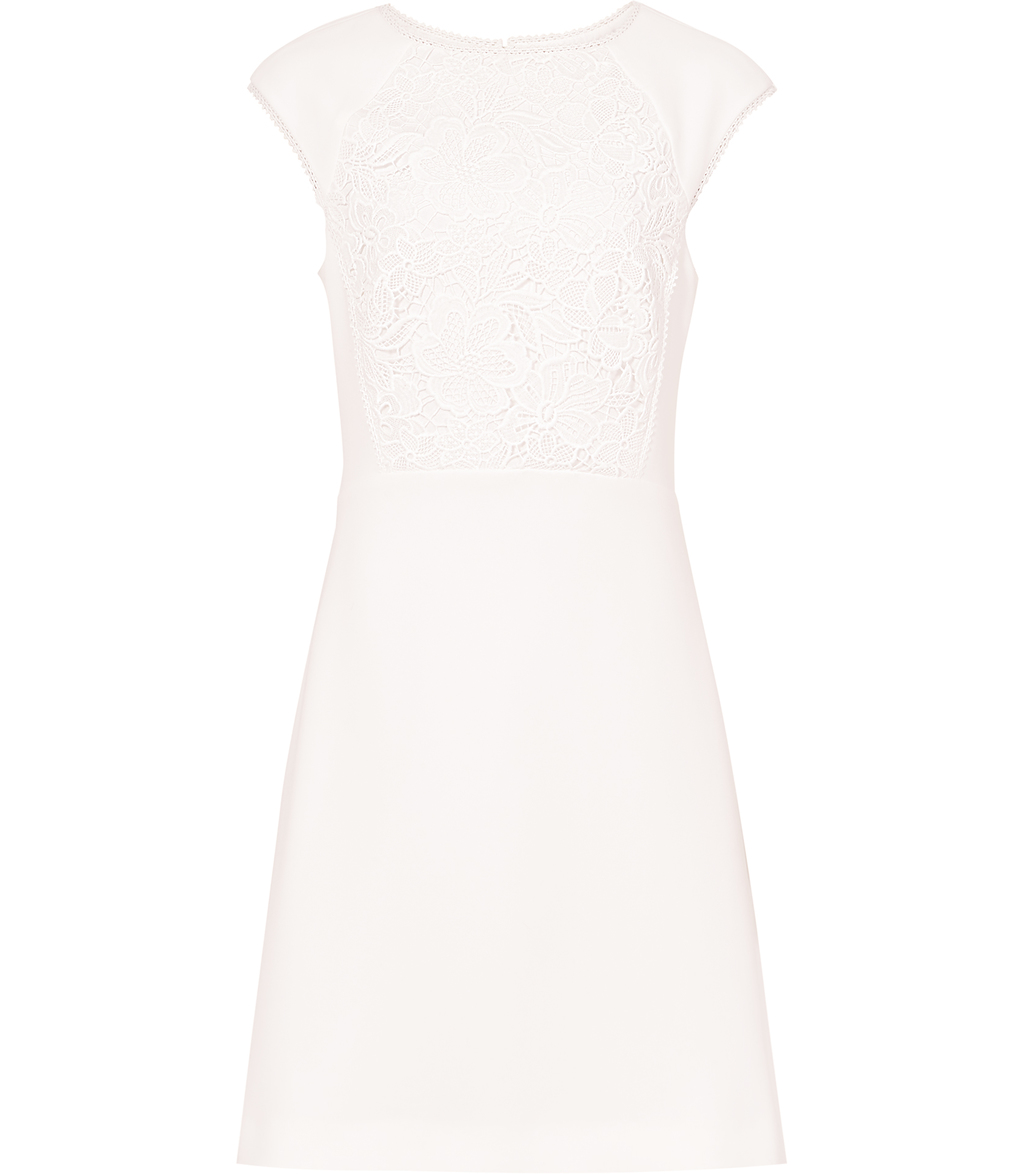 Talithia Womens Lace Panel Dress In White - style: shift; sleeve style: capped; fit: tailored/fitted; pattern: plain; predominant colour: white; occasions: evening; length: just above the knee; fibres: polyester/polyamide - mix; neckline: crew; sleeve length: short sleeve; texture group: crepes; pattern type: fabric; embellishment: lace; season: s/s 2016; wardrobe: event