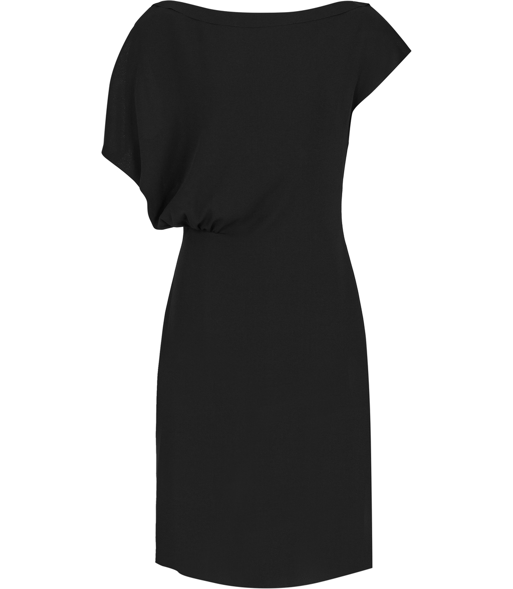 Yen Womens Draped Dress In Black - style: shift; neckline: round neck; pattern: plain; predominant colour: black; occasions: evening; length: on the knee; fit: body skimming; fibres: polyester/polyamide - 100%; sleeve length: short sleeve; sleeve style: standard; pattern type: fabric; texture group: jersey - stretchy/drapey; season: s/s 2016; wardrobe: event