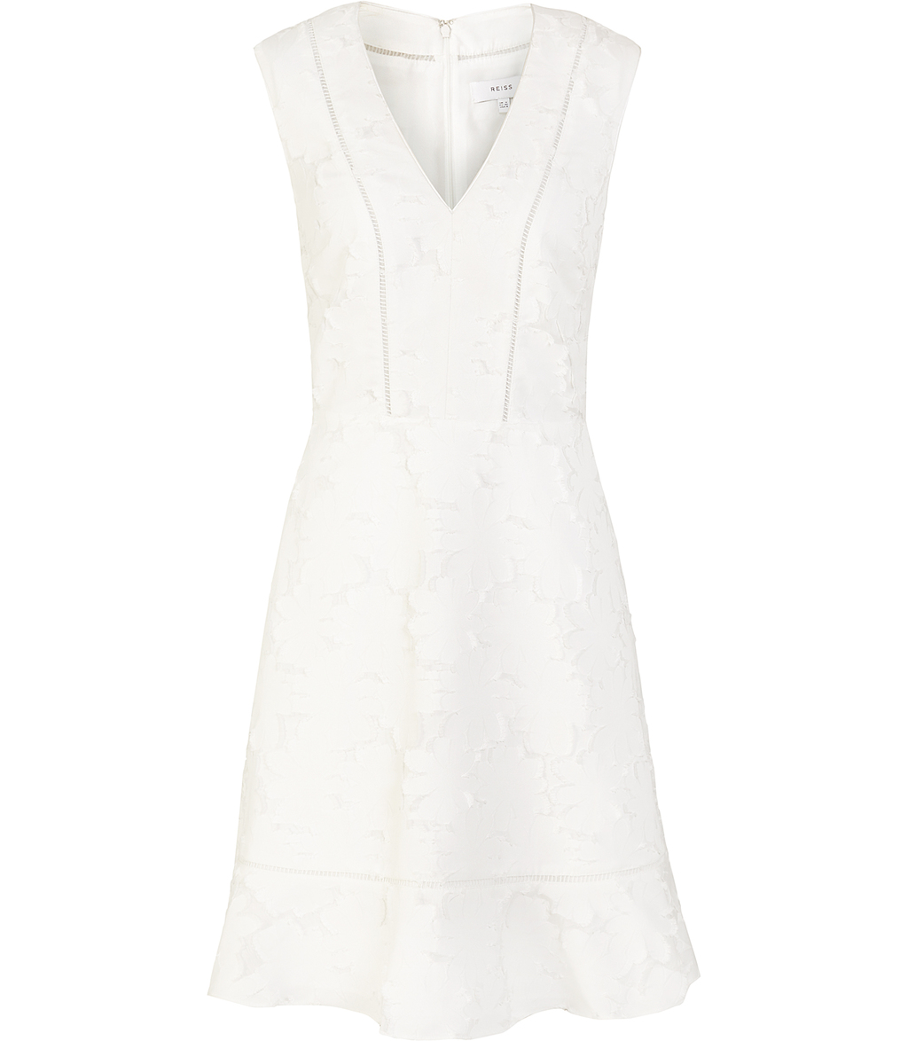 Bee Womens Lace Fit And Flare Dress In White - neckline: v-neck; pattern: plain; sleeve style: sleeveless; predominant colour: white; occasions: evening; length: just above the knee; fit: fitted at waist & bust; style: fit & flare; fibres: polyester/polyamide - 100%; sleeve length: sleeveless; texture group: lace; pattern type: fabric; pattern size: standard; season: s/s 2016; wardrobe: event