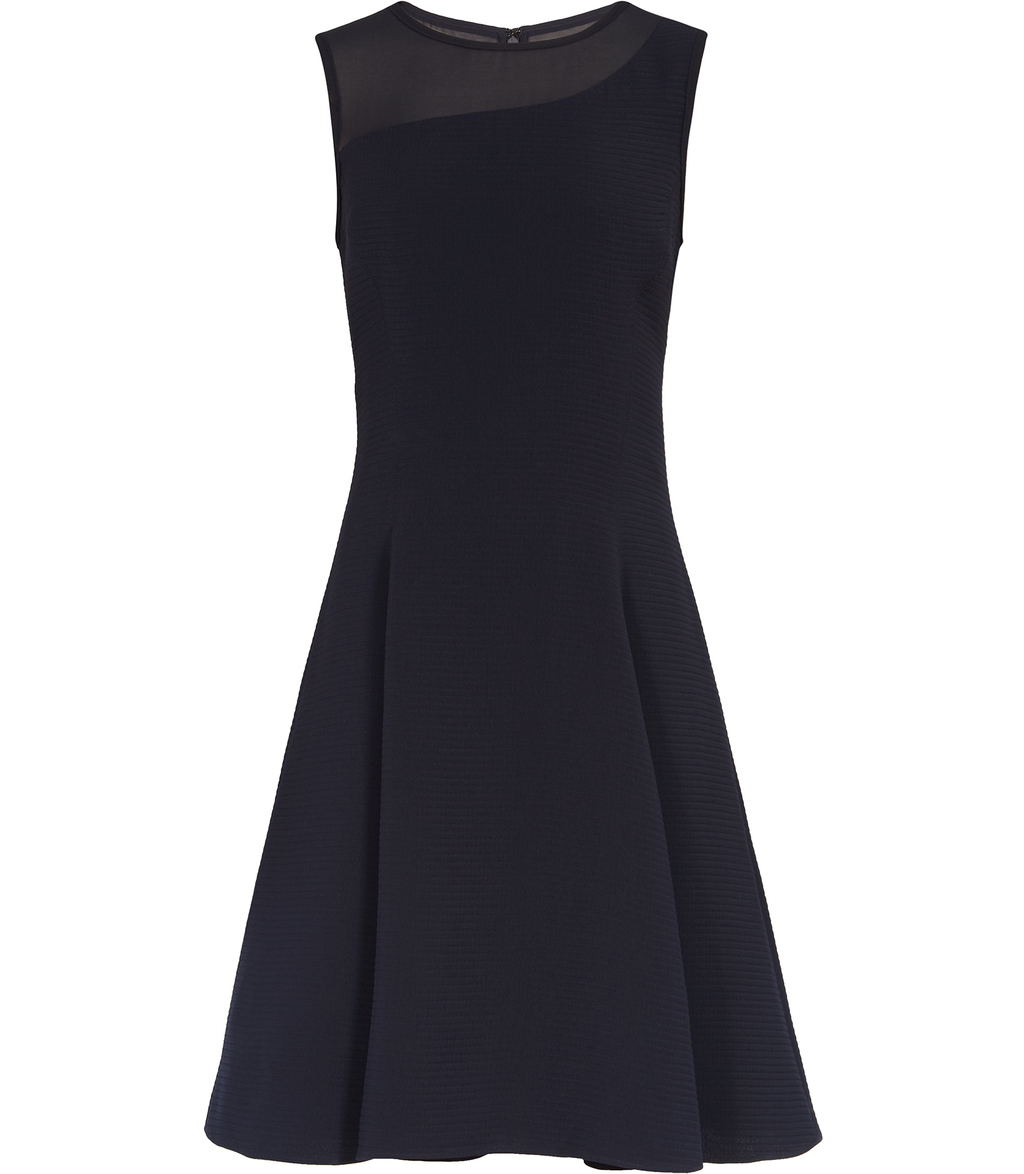 Verde Womens Textured Fit And Flare Dress In Blue - pattern: plain; sleeve style: sleeveless; bust detail: sheer at bust; predominant colour: navy; occasions: evening; length: just above the knee; fit: fitted at waist & bust; style: fit & flare; fibres: polyester/polyamide - 100%; neckline: crew; sleeve length: sleeveless; pattern type: fabric; texture group: woven light midweight; season: s/s 2016; wardrobe: event