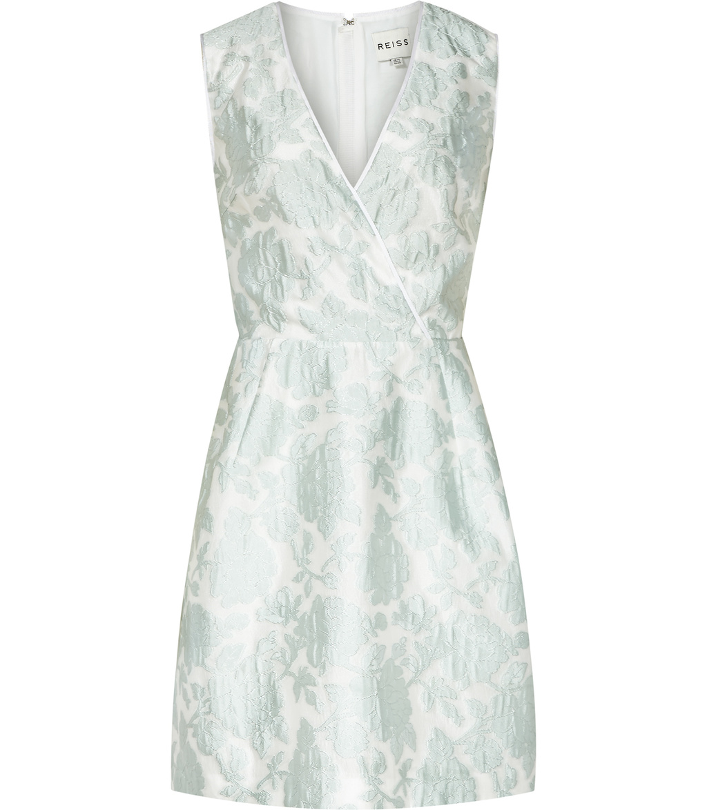 Tate Womens Jacquard Dress In Blue - length: mid thigh; neckline: v-neck; sleeve style: sleeveless; predominant colour: pale blue; occasions: evening; fit: fitted at waist & bust; style: fit & flare; fibres: polyester/polyamide - mix; sleeve length: sleeveless; pattern type: fabric; pattern: florals; texture group: brocade/jacquard; season: s/s 2016; wardrobe: event