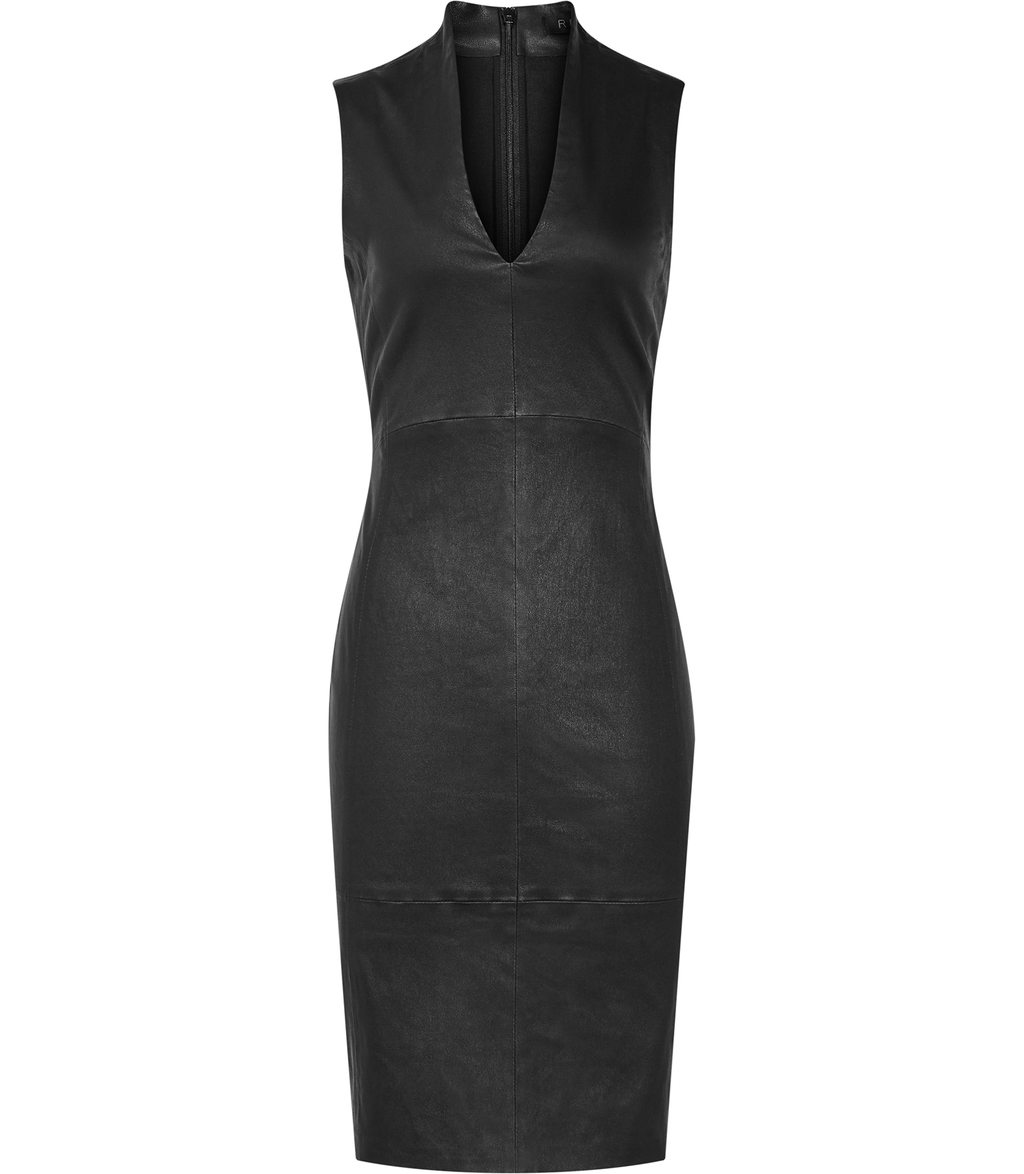 Northwood Womens Stretch Leather Dress In Black - neckline: v-neck; fit: tight; pattern: plain; sleeve style: sleeveless; style: bodycon; predominant colour: black; occasions: evening; length: on the knee; fibres: leather - stretch; sleeve length: sleeveless; texture group: leather; pattern type: fabric; season: s/s 2016; wardrobe: event