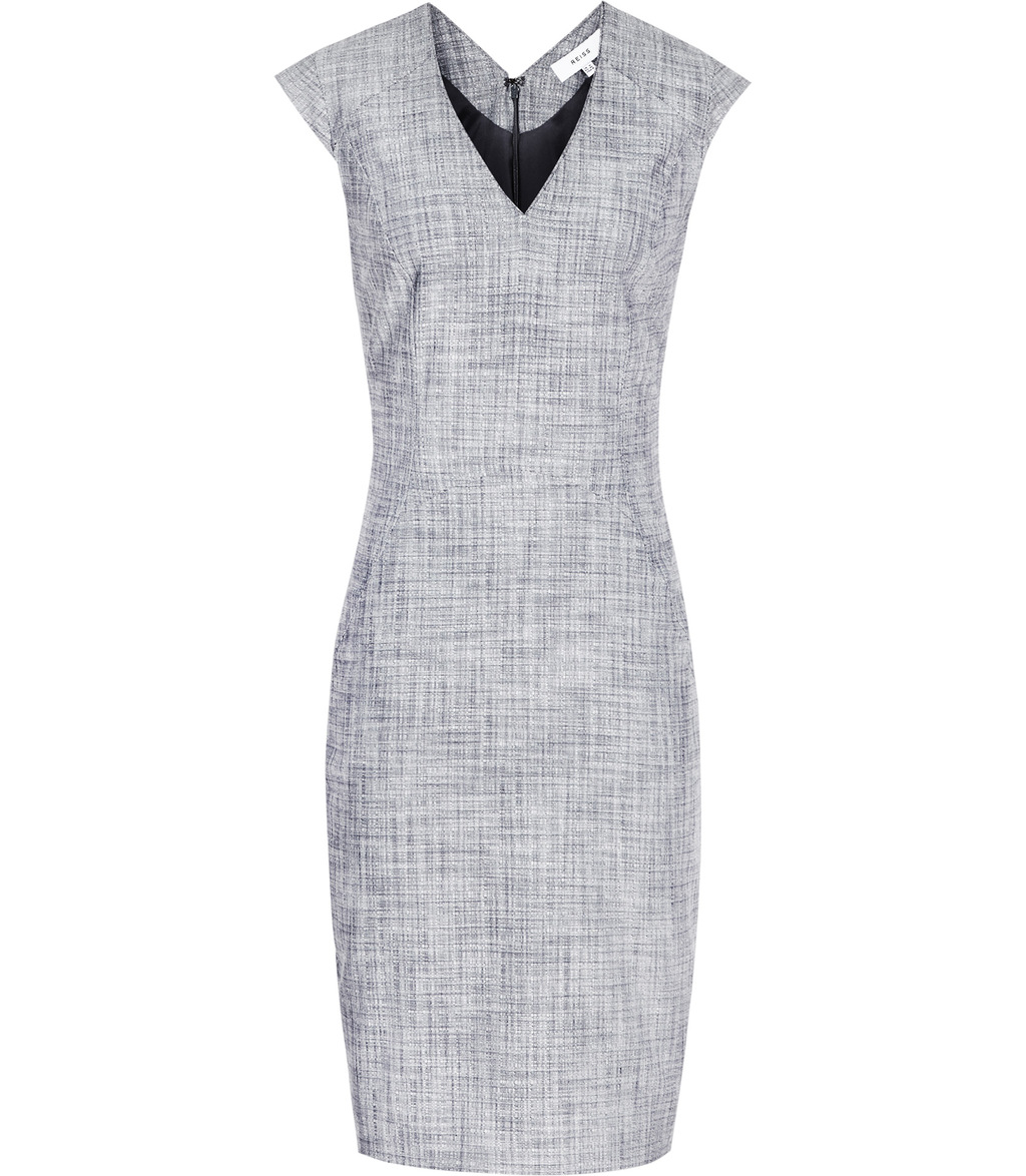 Remi Dress Womens Tailored Dress In Blue - style: shift; neckline: v-neck; sleeve style: capped; fit: tailored/fitted; pattern: plain; predominant colour: light grey; occasions: work; length: on the knee; fibres: viscose/rayon - stretch; sleeve length: short sleeve; pattern type: fabric; texture group: woven light midweight; season: s/s 2016; wardrobe: investment