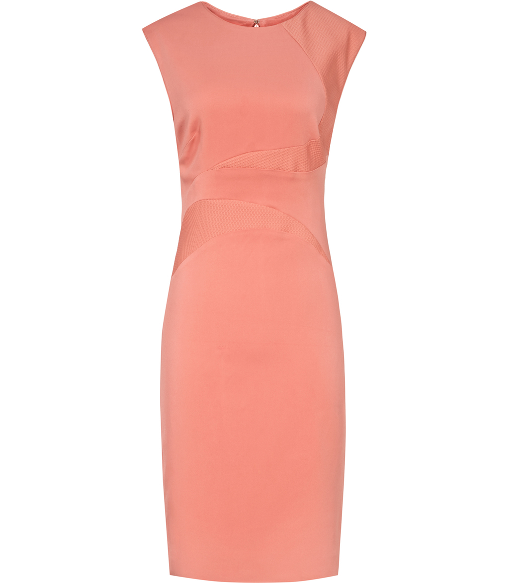 Danielle Womens Textured Panel Dress In Pink - style: shift; pattern: plain; sleeve style: sleeveless; predominant colour: pink; occasions: evening; length: just above the knee; fit: body skimming; fibres: viscose/rayon - stretch; neckline: crew; sleeve length: sleeveless; pattern type: fabric; texture group: other - light to midweight; season: s/s 2016; wardrobe: event