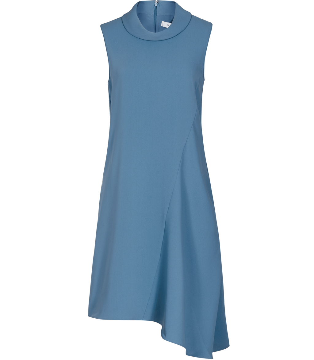 Sansa Womens High Neck Shift Dress In Blue - pattern: plain; sleeve style: sleeveless; neckline: high neck; predominant colour: denim; occasions: casual; length: just above the knee; fit: body skimming; style: asymmetric (hem); fibres: polyester/polyamide - 100%; sleeve length: sleeveless; pattern type: fabric; texture group: jersey - stretchy/drapey; season: s/s 2016; wardrobe: highlight