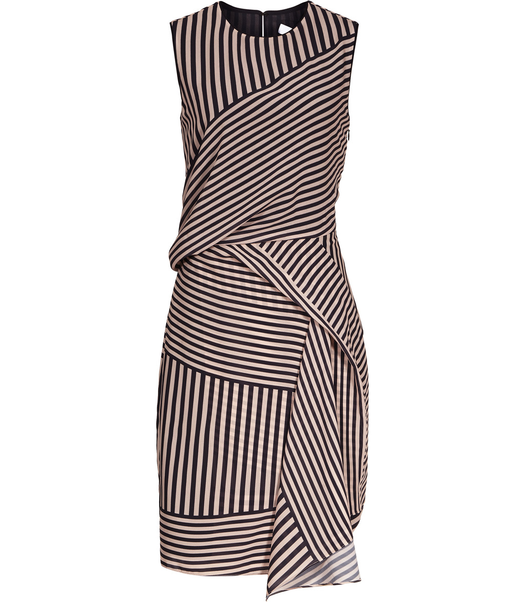 Sienna Womens Stripe Print Dress In Red - style: shift; sleeve style: sleeveless; pattern: striped; predominant colour: camel; secondary colour: black; occasions: evening; length: just above the knee; fit: body skimming; fibres: polyester/polyamide - 100%; neckline: crew; sleeve length: sleeveless; pattern type: fabric; texture group: jersey - stretchy/drapey; multicoloured: multicoloured; season: s/s 2016