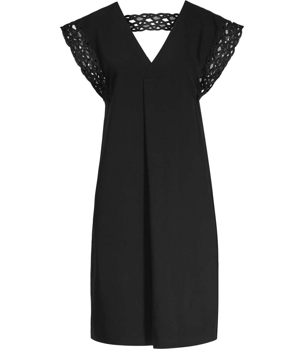 Cayene Womens Lace Detail Shift Dress In Black - style: shift; neckline: v-neck; sleeve style: capped; pattern: plain; predominant colour: black; occasions: evening; length: just above the knee; fit: body skimming; fibres: polyester/polyamide - 100%; sleeve length: short sleeve; pattern type: fabric; texture group: other - light to midweight; embellishment: lace; season: s/s 2016