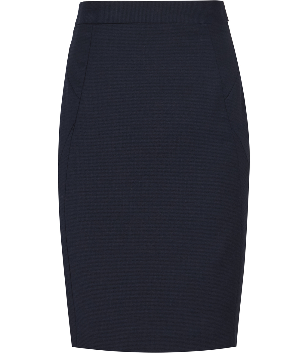 Indi Skirt Womens Textured Pencil Skirt In Blue - pattern: plain; style: pencil; fit: tailored/fitted; waist: high rise; predominant colour: navy; occasions: work; length: just above the knee; fibres: polyester/polyamide - stretch; pattern type: fabric; texture group: woven light midweight; season: s/s 2016; wardrobe: basic