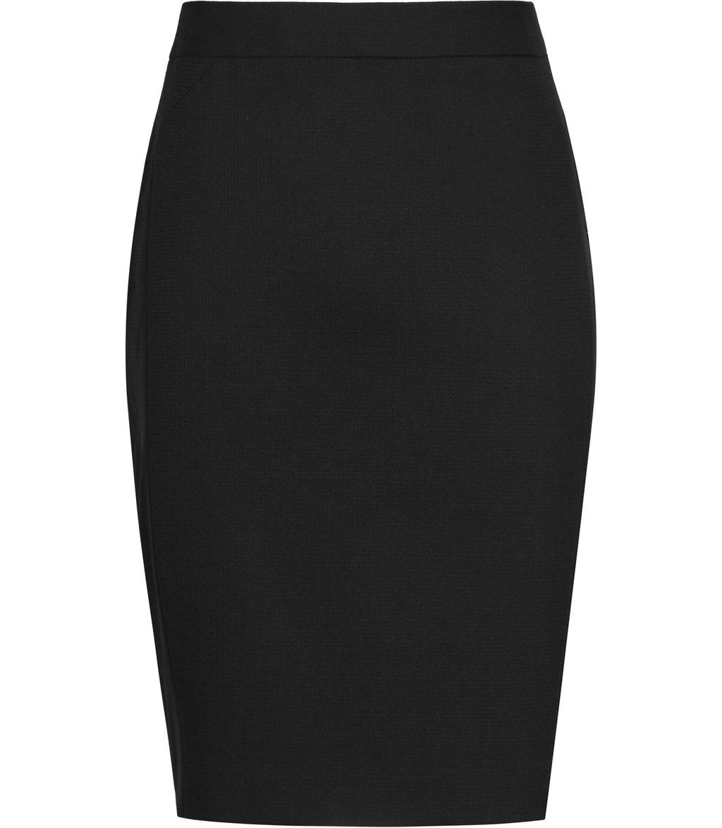 Dartmouth Skirt Womens Textured Pencil Skirt In Black - pattern: plain; style: pencil; fit: tailored/fitted; waist: high rise; predominant colour: black; occasions: work; length: just above the knee; fibres: polyester/polyamide - stretch; pattern type: fabric; texture group: woven light midweight; season: s/s 2016; wardrobe: basic