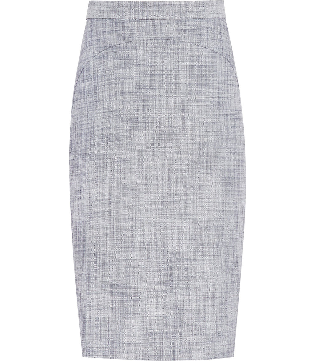 Remi Skirt Womens Tailored Pencil Skirt In Blue - length: below the knee; pattern: plain; style: pencil; fit: tailored/fitted; waist: high rise; predominant colour: light grey; occasions: work; fibres: viscose/rayon - stretch; pattern type: fabric; texture group: woven light midweight; season: s/s 2016
