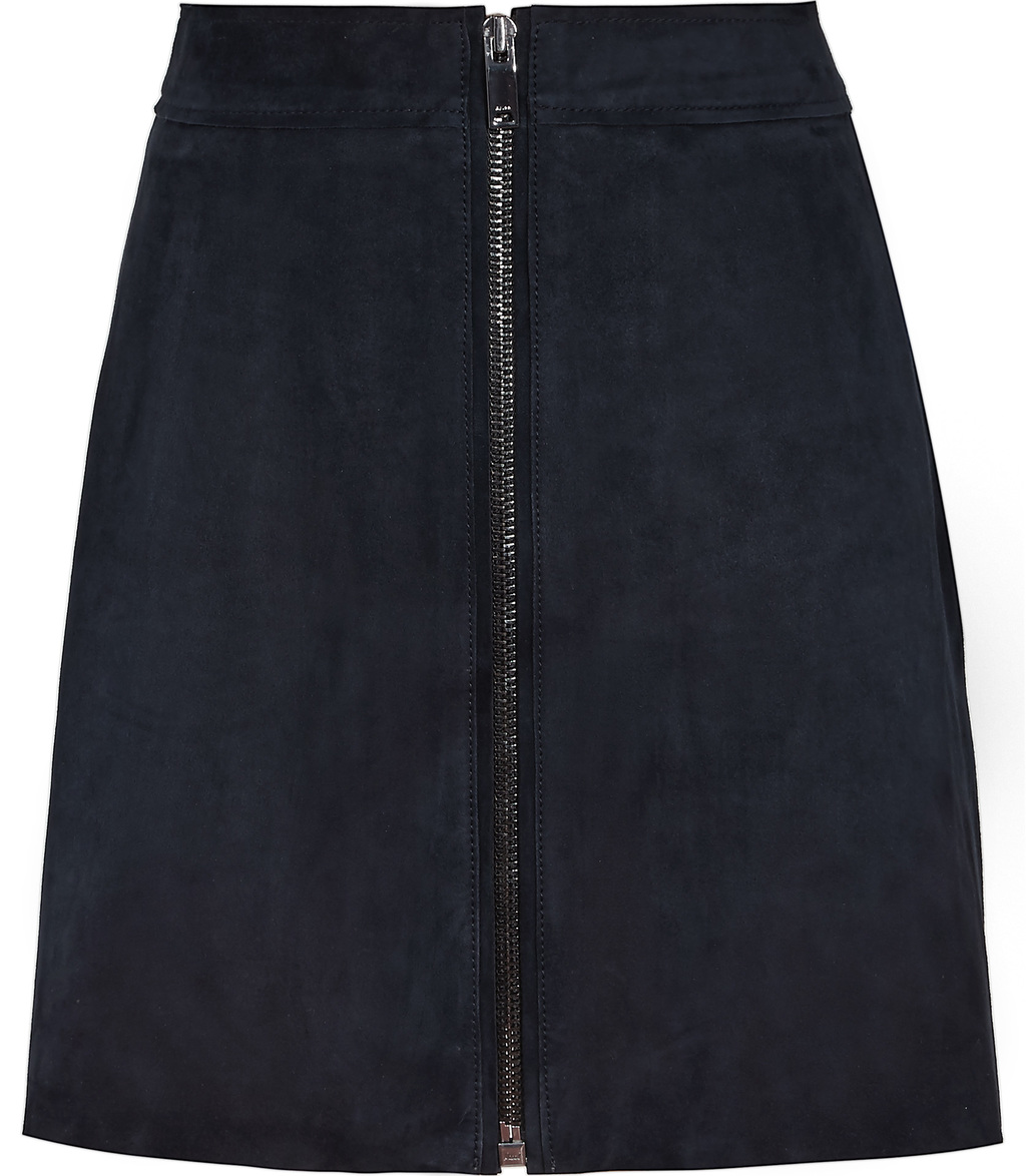 Felicity Womens Suede Zip Front Skirt In Blue - pattern: plain; fit: body skimming; waist: high rise; predominant colour: navy; occasions: casual, creative work; length: just above the knee; style: a-line; fibres: leather - 100%; pattern type: fabric; texture group: suede; season: s/s 2016; wardrobe: highlight