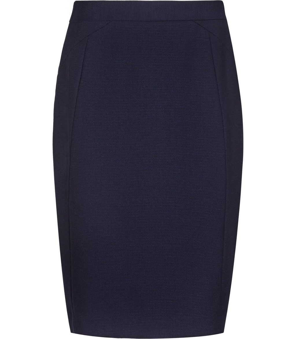 Delo Skirt Womens Tailored Pencil Skirt In Blue - pattern: plain; style: pencil; fit: tailored/fitted; waist: high rise; predominant colour: navy; occasions: work; length: just above the knee; fibres: viscose/rayon - stretch; pattern type: fabric; texture group: woven light midweight; season: s/s 2016