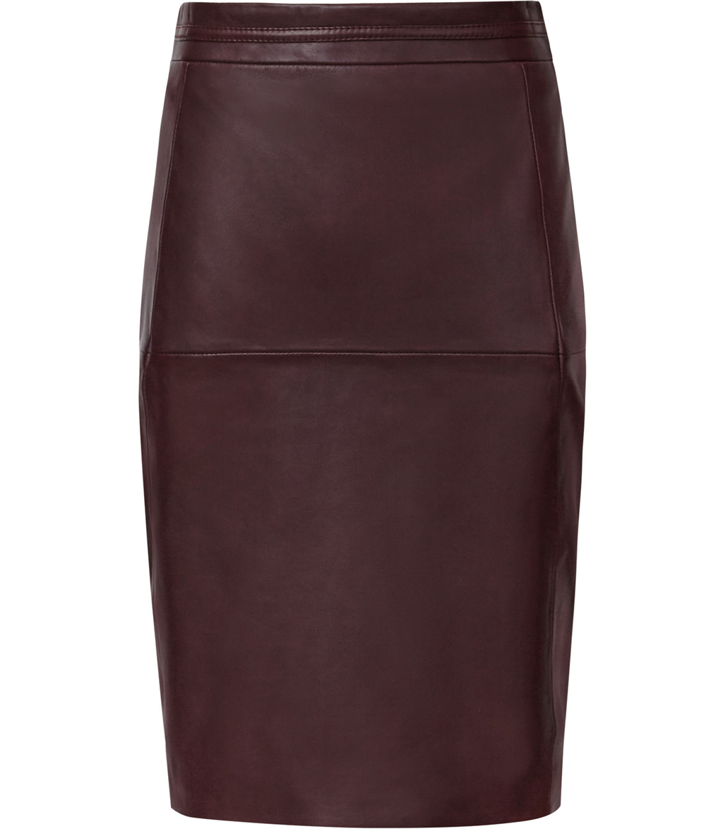 Cleo Womens Leather Panel Pencil Skirt In Red - pattern: plain; style: pencil; fit: tailored/fitted; waist: high rise; predominant colour: burgundy; occasions: evening, creative work; length: just above the knee; fibres: leather - 100%; texture group: leather; pattern type: fabric; season: s/s 2016